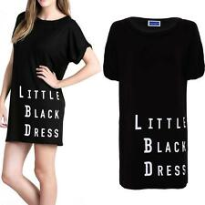 Women's Short Black Turn Up Sleeve T-Shirt Dress Ladies Little Black Dress Tunic