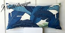 Genuine Tommy Bahama Outdoor Blue & White Swaying Palm Leaf Lumbar Cushion Cover