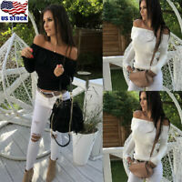 Womens Lace Off Shoulder Jumper Tops Ladies Casual Long Sleeve Sweater Blouse US