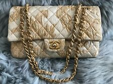 CHANEL Limited Edition - Gold & Beige Brocade Medium Double Flap Bag
