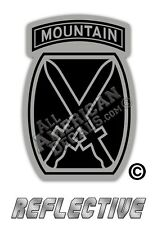 """2- 10th Mountain Division Decal TACTICAL Reflective DECAL Sticker 2"""" inches B&G"""