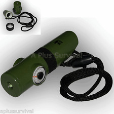 Lot of 144 Survival 7 in 1 Green Emergency Whistle Compass Mirror Magnifier