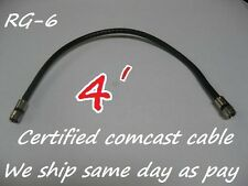4' BRAND NEW 4FT RG-6 COAX BLACK CABLE JUMPER FITTINGS COAXIAL TV SATELLITE RG6