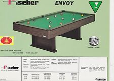 VINTAGE AD SHEET #1825 - FISCHER BILLIARDS POOL TABLE - ENVOY