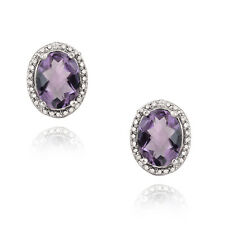 925 Silver 3.3ct Amethyst & Diamond Accent Oval Earrings