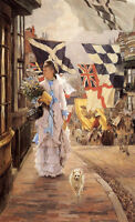 """Oil painting James Jacques Joseph Tissot - A Fete Day at Brighton Lady & dog 36"""""""