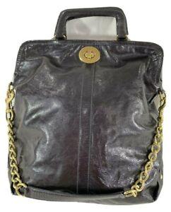 COACH Dark Metallic Purple Patent Leather Fold Over Satchel Shoulder Bag