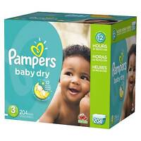 Pampers Baby Dry Diapers M (Size 3)-8PK of 34CT **BULK 272 Count**
