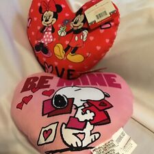 Snoopy Mickey Minnie Pillows Red Lot of 2 Valentines Day Heart Kiss Love New