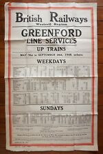 1948 Western Region Railway Timetable Poster Greenford Line Up Trains