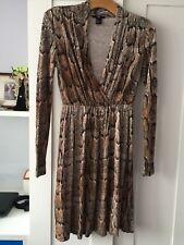 H&M WOMENS DESIGNER SNAKE PATTERN WRAP STYLE DRESS SZ EUR S, 10 UK FLATTERING