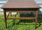 Vintage Mid Century Danish Modern Wood   Wicker Trim Coffee End Table