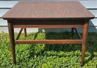 Vintage Mid Century Danish Modern Wood & Wicker Trim Coffee End Table
