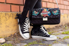 ZARA BLACK 'INSPIRE OTHERS' DISTRESSED STUDDED HIGH-TOP SNEAKERS UK 3 EU 36