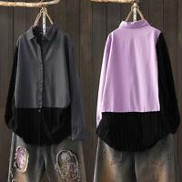 Mode Femme Loisir Coton Coture Manche Longue Bande Revers Chemise Haut Plus