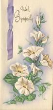 VINTAGE WHITE MORNING GLORY FLOWERS VINE BOTANICAL SYMPATHY GREETING CARD PRINT
