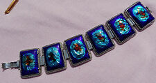Best Vintage Huge Wide Silver Copper Glass Enamel Peacock Eye Link Bracelet Blue