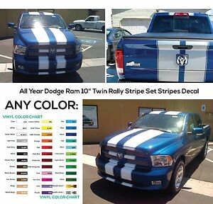 """All Year Dodge Ram 10"""" Twin Rally Stripe Set Stripes Decal Decals Graphics NEW"""