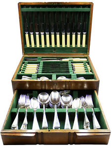 Lee & Wigfull Silver Plated Stainless Steel 1930's 12-place Canteen 94 Pieces