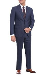 Mens Napoli Slim Fit Navy Blue Check Half Canvassed Super 150s Wool Suit
