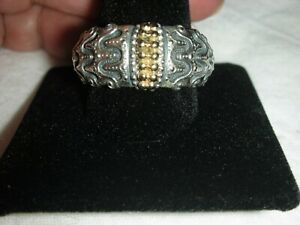 Men's Solid Sterling Silver & 14k Yellow Gold  Unique Vintage Ring Size 13 1/2