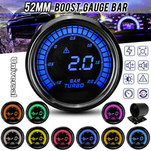 2'' 52mm Car Turbo Boost Pressure Press Gauge Meter Digital LED Display -1~2 BAR