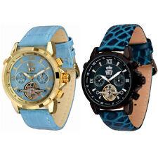 Polierte mechanische - (Handaufzug) Armbanduhren aus Edelstahl mit Datumsanzeige