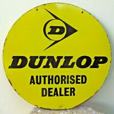 Vintage Dunlop Tire Porcelain Enamel Sign Double Sided Rare Collectibles Adver#F