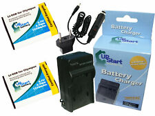 2x Battery +Charger +Car Plug +EU Adapter for Olympus Stylus XZ 2 Tough TG 2 His