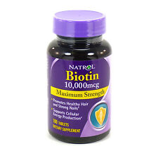 Biotin 10,000 mcg By Natrol 100 Tablets Maximum Strength Hair Skin and Nails