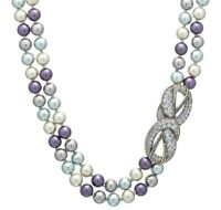 Heidi Daus Love Knot Blue Pearl & Crystal Necklace