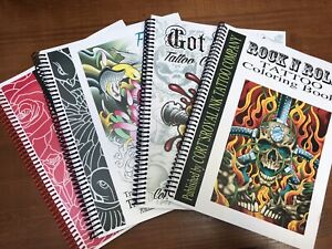 Lot Of 4 Adult Coloring Books/tattoo Line Drawings