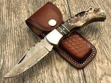 ASH DR29 Damascus steel custom handmade pocket folding knife
