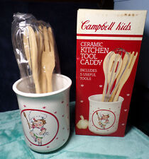 CAMPBELL'S ~ CAMPBELL KIDS ~ KITCHEN TOOL CADDY & TOOLS ~ RED & WHITE ~ 1990 NEW