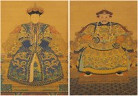PAIR OF CHINESE ANCESTOR SEATED PORTRAITS -Stunning Detail & Colour -Age Unknown