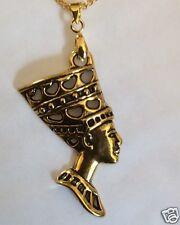 Nefertiti Reina De Egipto Collar Colgante Tono Oro 42cm