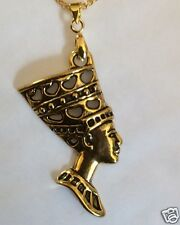 NEFERTITI QUEEN OF EGYPT PENDANT ON GOLD TONE NECKLACE 42cm