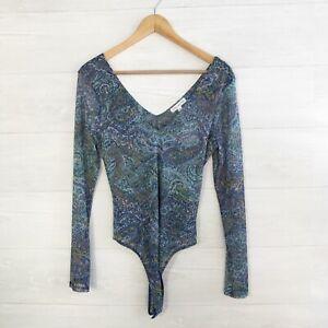 NWT Socialite - Blue & purple paisley sheer mesh long sleeve bodysuit, L