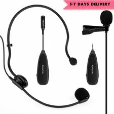 2.4G Wireless Headset+Lavalier Microphone Mics with Voice Amplifier & Recording