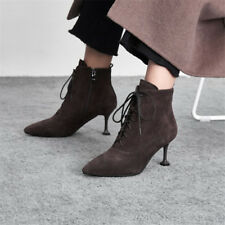 US 4.5-10 Womens Lace Up Suede Ankle Boots Pointed Toe Shoes Kitten Heel Booties