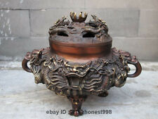 "9""Chinese Buddhism red Bronze Two Dragon Bead Royal Temple Censer Incense Burner"