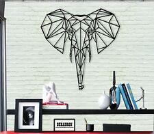 Metal Elephant Head, Metal Wall Art, Geometric Decoration, Living Room Decor