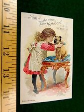 1891 John Hancock Co. Lovely Girl With Pug Dog Cute Victorian Trade Card F42