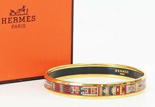 Authentic HERMES Goldtone Red White Tile Design Enamel Bangle Bracelet PM #37680