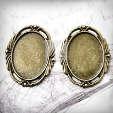 5pcs Cameo Cabochon Pendant Antique Brass Setting Glue in Flat Oval 39.5x32x2mm