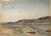Watercolour Impressionist Karl Adser Country House And Ducks 45,5 x 32