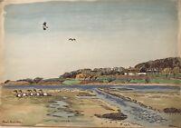 Aquarell Impressionist Karl Adser Landhaus und Enten 45,5 x 32