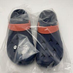 Bird Dogs Crocs Rubber Vinyl Clogs Ventilated Shoe Sneaker Size 9 Navy Coral