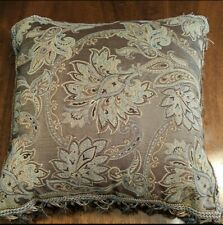 Croscill Home Square Accent Throw Pillow With Tassels and Beads. Floral design