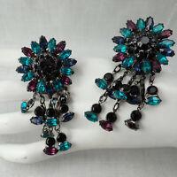 Wowza Sorrelli Runway Black Teal Purple Rhinestone Flower Dangle Clip Earrings